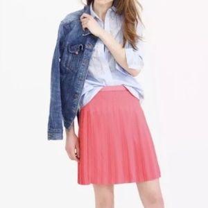 NWT J. Crew Coral Pleated Mini Skirt